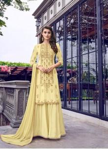 Cream Muslin Embroidered Designer Salwar Kameez