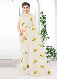 Cream Net Printed Saree