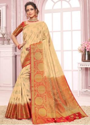Cream Nylon Bollywood Saree