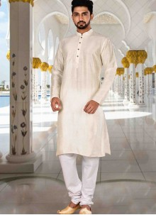 Cream Plain Art Dupion Silk Kurta Pyjama