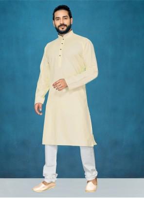 Cream Plain Ceremonial Kurta Pyjama
