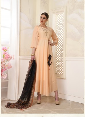 Cream Printed Engagement Salwar Suit