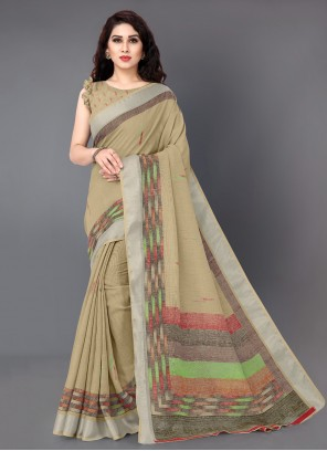 Cream Printed Traditional Saree