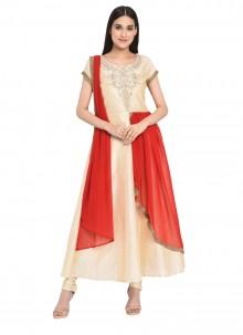 Cream Readymade Anarkali Salwar Suit