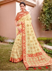 Cream Reception Classic Designer Saree