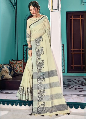 Cream Reception Linen Traditional Saree