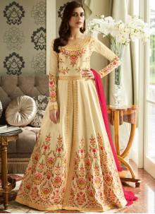 Cream Reception Malbari Silk  Anarkali Suit