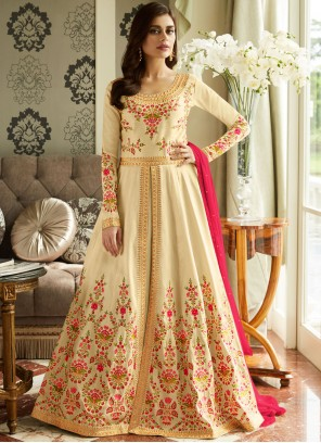 Cream Reception Malbari Silk  Anarkali Suit