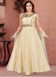 Cream Reception Readymade Anarkali Salwar Suit