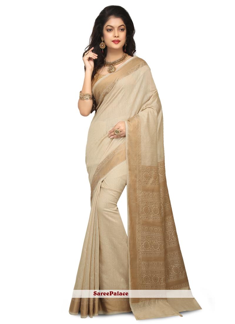 Cream Reception Silk Designer Saree