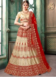 Cream Resham Bridal Lehenga Choli