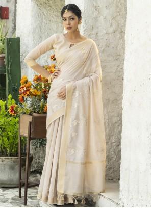 Cream Resham Cotton Designer Traditional Saree