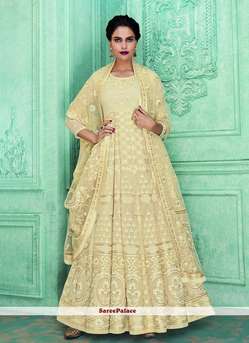 Cream Resham Desinger Anarkali Salwar Kameez