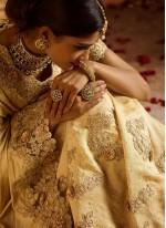 Cream Resham Fancy Fabric Classic Designer Saree