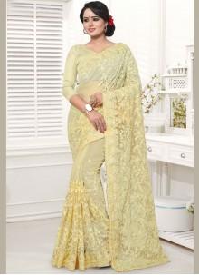 Cream Resham Net Classic Designer Saree