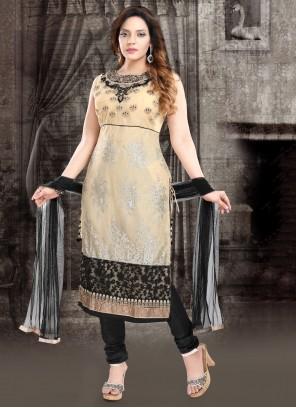 Cream Resham Net Designer Suit