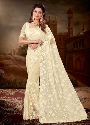 Cream Resham Party Classic Designer Saree