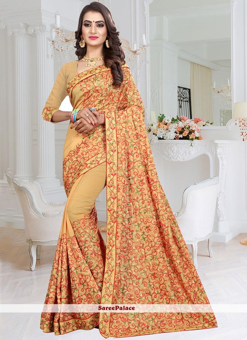 Cream Resham Saree
