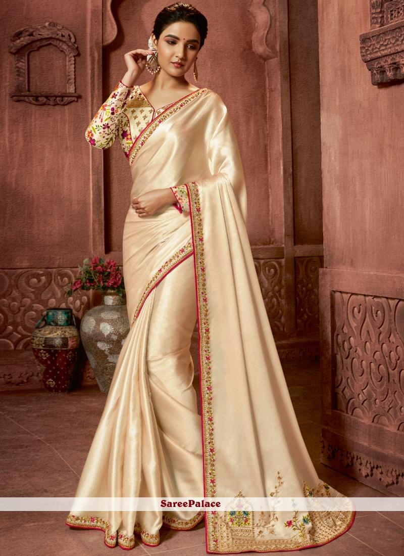 Cream Sangeet Art Silk Trendy Saree