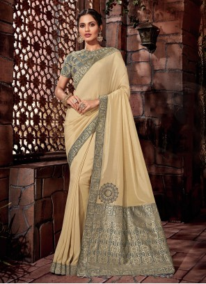 Cream Sangeet Designer Saree