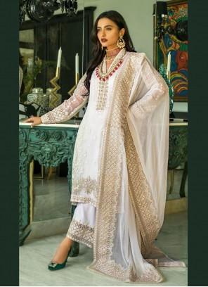 Cream Sangeet Faux Georgette Designer Pakistani Salwar Suit