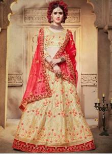 Cream Satin Silk Embroidered Designer Lehenga Choli