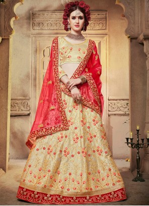 Cream Satin Silk Embroidered Designer Lehenga Choli