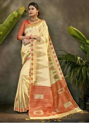 Cream Silk Ceremonial Traditional Designer Saree