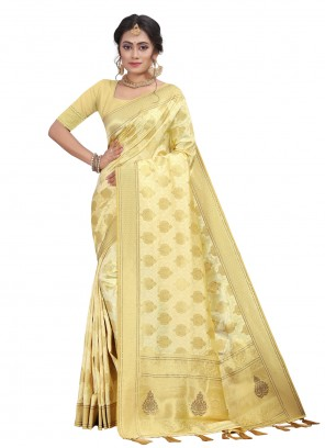 Cream Silk Fancy Designer Traditional Saree