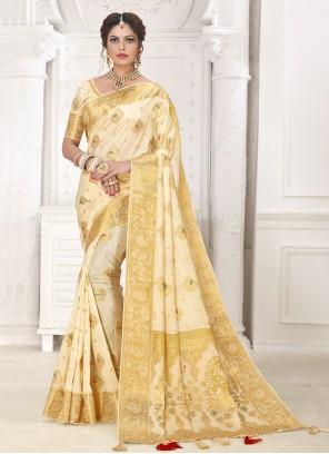Cream Silk Fancy Traditional Designer Saree