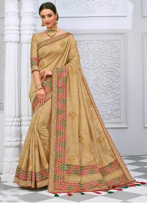 Cream Silk Festival Designer Saree