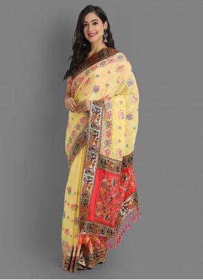 Cream Silk Party Embroidered Saree