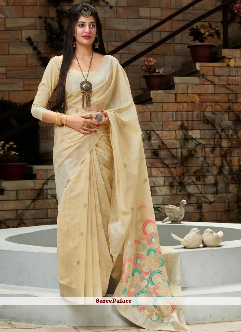 Cream Silk Traditional Saree