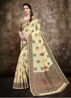 Cream Silk Trendy Saree
