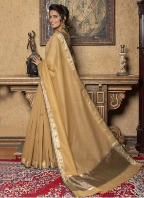 Cream Fancy Work Silk Trendy Saree