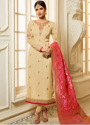 Cream Stone Ceremonial Churidar Designer Suit