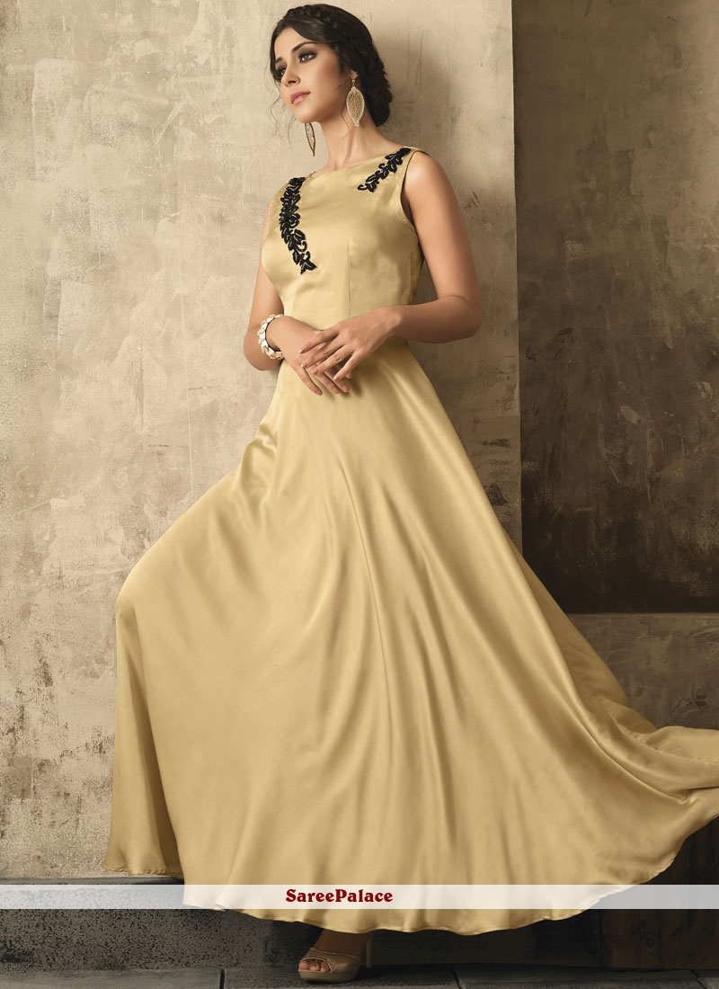 47c53319eae8 Buy Cream Stone Work Satin Readymade Designer Gown Online