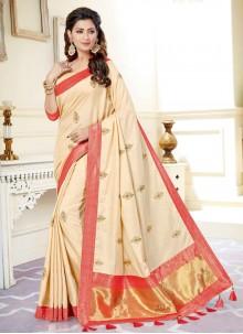 Cream Traditional Designer Saree
