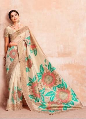 Cream Woven Art Silk Traditional Saree