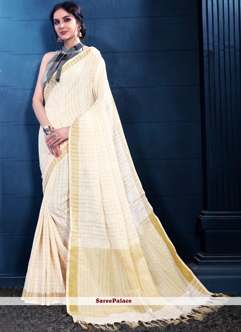 Cream Trendy Saree