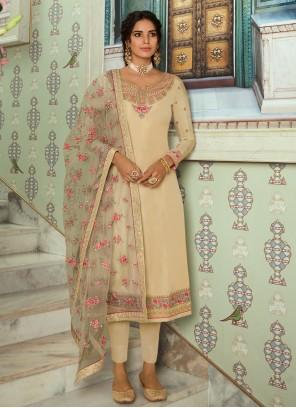 Cream Tussar Silk Embroidered Designer Straight Salwar Kameez