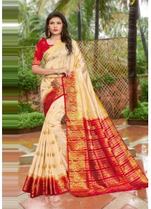 Cream Weaving Art Silk Traditional Designer Saree
