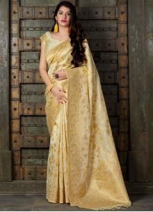Cream Weaving Classic Saree