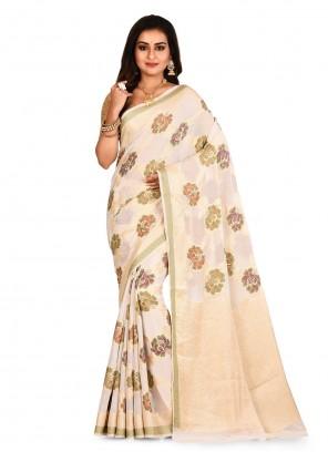 Cream Weaving Contemporary Saree