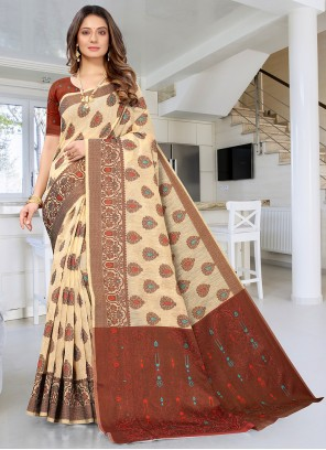 Cream Weaving Festival Designer Traditional Saree