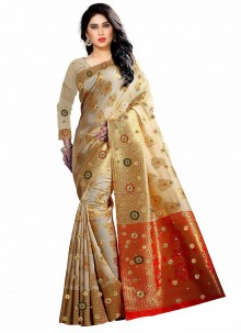 Cream Weaving Kanjivaram Silk Trendy Saree