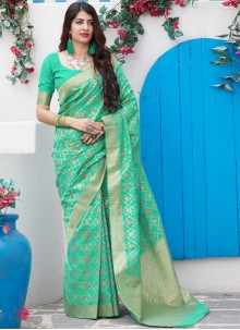 Sea Green Weaving Mehndi Saree
