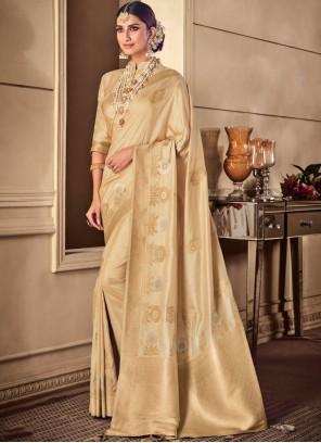 Cream Weaving Silk Classic Saree