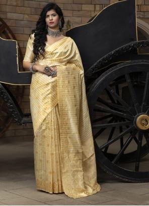 Cream Weaving Silk Saree