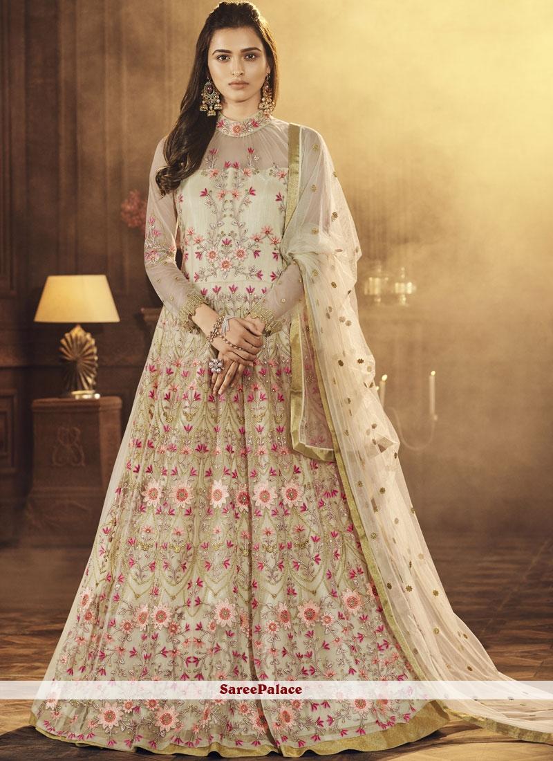 9bbbb3f76f Buy Cream Wedding Net Long Choli Lehenga Online